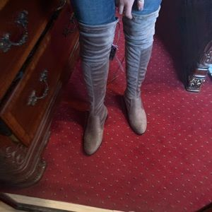 NWT gray suede thigh high boots
